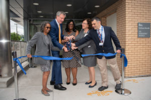Mayor Bill de Blasio and First Lady Chirlane McCray attend the opening of a new Health + Hospitals Community Health Center